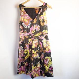 Tory Burch Dress Size 6 Silk Metallic Brown